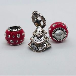 Christmas tree charm with red enamel beads